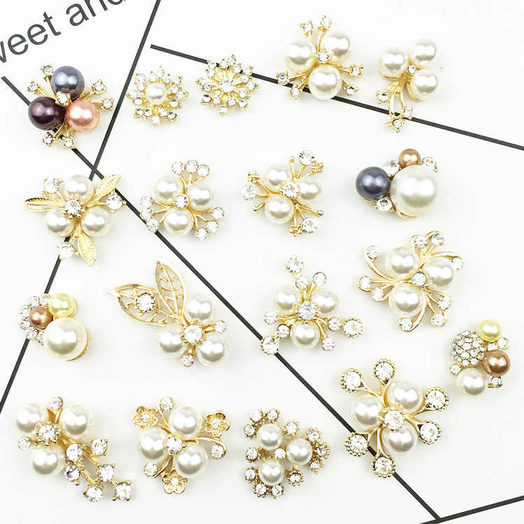 10pcs Plastic Rhinestone Pearl Pendants Mini Cute Charms Jewelry Making 10~15mm