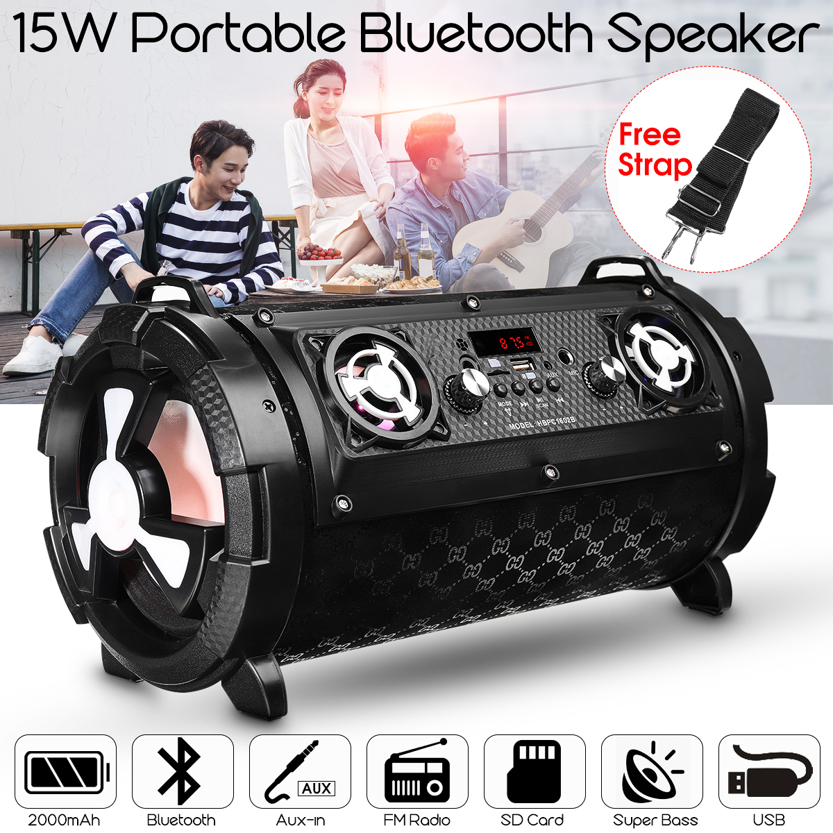 KINCO 15W Bass Outdoor Sports Portable Bluetooth Speaker Wireless Subwoofer Hi-Fi Radio FM /AUX / TF / USB With Microphone