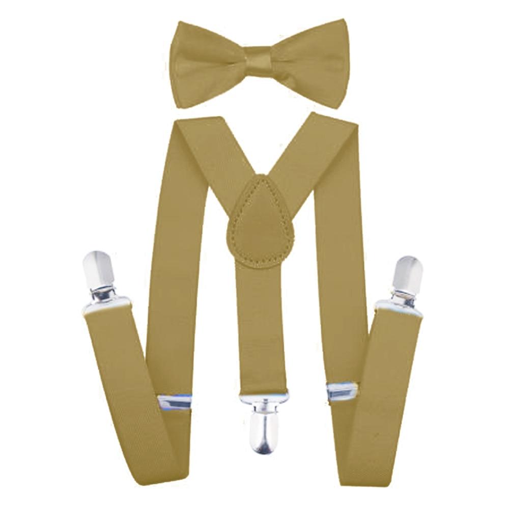 Регулируемая мода мальчиков хлопчатобумажный галстук вечерние галстуки подарок высокое качество для маленьких мальчиков малышей бабочка галстук-бабочка+ на подтяжках комплект одноцветное Цвет - Цвет: Khaki