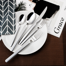 20pcs Luxury Silver Dinnerware Set Stainless Steel Cutlery Wedding Silverware Tableware Party Dining set Knife and Fork Giftbox