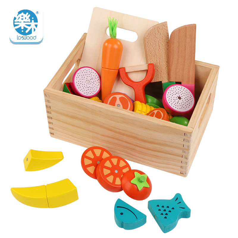 Wooden Box Kitchen Toys Real Life Cutting Fruit Vegetable