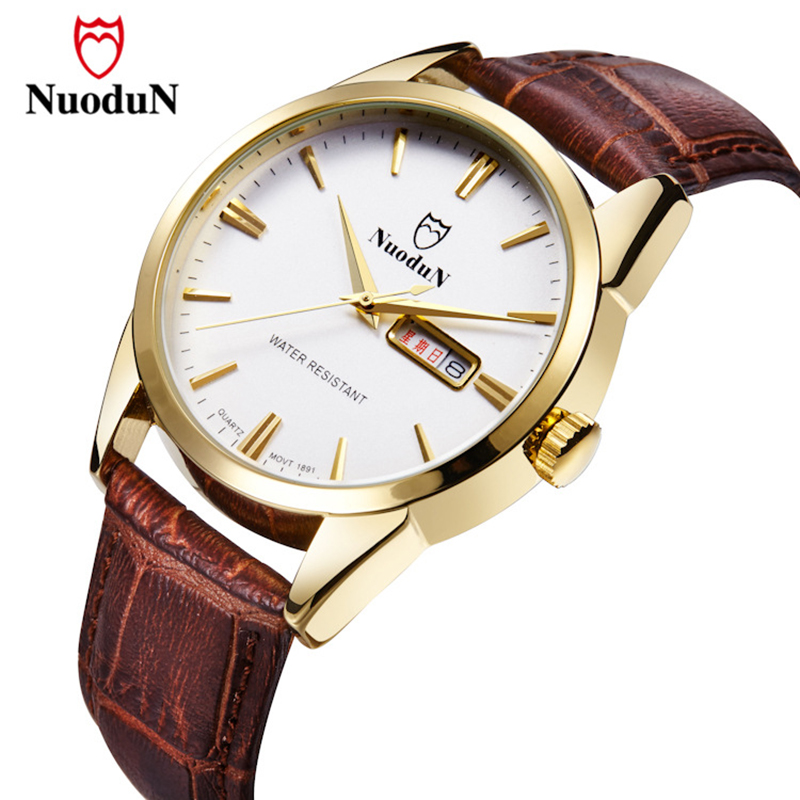 Nuodun New Brand Men Watch Gold Plated Stainless Steel Case Casual Mens Quartz Watch Waterproof Leather Strap Date Clock 1891 men stainless steel gold plated blue rhinestone ring