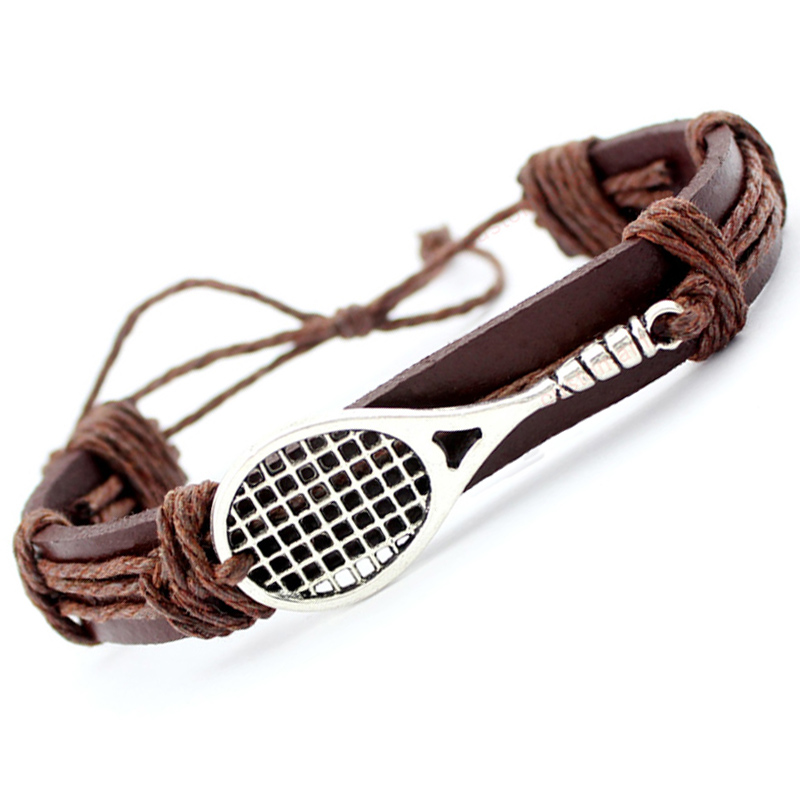 Soccer Football Baseball Volleyball Lacrosse Field Hockey Gymnastics Tennis Racket Racquetball Leather Wrap <font><b>Bracelet</b></font> Men image