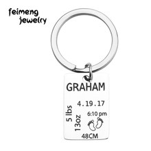 New Born Child Custom Information Keychain Weight Date Name Engraved Precious Memory Keepsake Gift For Baby Charm Keyrings(China)