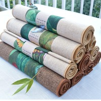 Chinese Style Vintage Pattern Table Runner Home Dinner Table Decoration Cotton Flax Mats Office Kung Fu