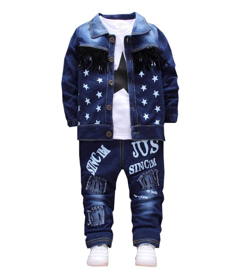 Children Spring autumn 2018 boy clothing set,baby boy clothes,kids clothes sets,t-shirt+outerwear+Jeans pants 3 pcs suit