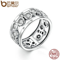 BAMOER Wedding Ring Real 925 Sterling Silver Classic Round Circle Big Finger Ring Women Fashion DIY