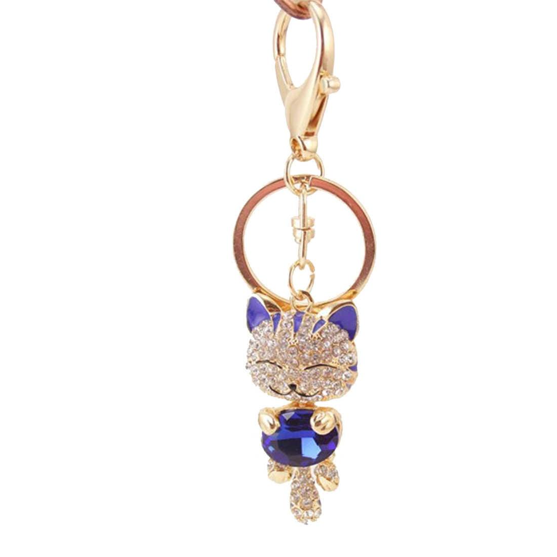 Nuovo Modo di Kawaii Gatto Scintillante Keychain di Fascino di Cristallo Portachiavi Della Borsa Della Borsa Portachiavi Auto Chiave Dei Monili di Anello Sveglio Del Pendente di Chiave