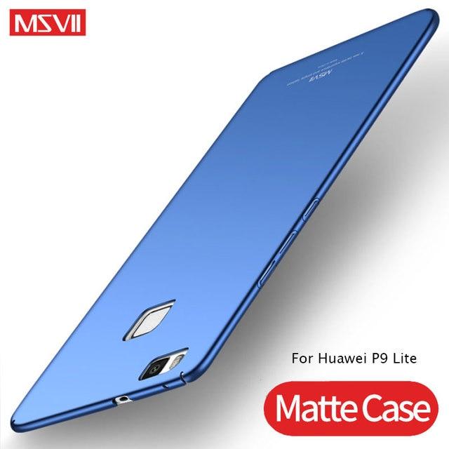 Huawei P9 Lite Trường Hợp Nắp Che MSVII Slim Matte Bìa Cqoue Đối Với Huawei Honor 8 Lite Trường Hợp PC Cứng Cover Quay Lại huawei P9 P8 Lite 2017 P9