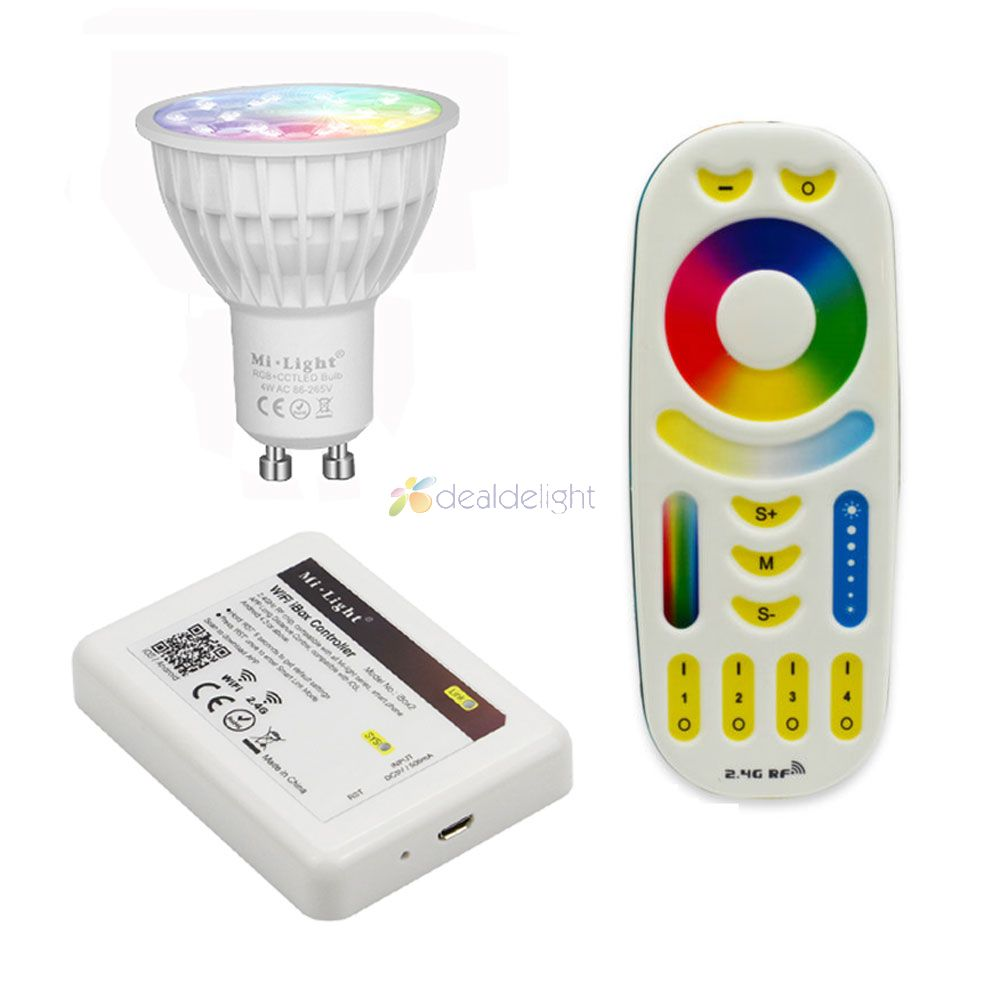 Mi.Light 4W GU10 RGB+CCT (2700-6500K) Led Bulb FUT103 2.4g Dimmable LED Lamp Indoor Decoration + 4-zone RF LED Remote+ Wifi ibox fashion men s ripped jeans acid washed vintage teared torn straight fit distressed denim pants with holes