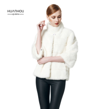 HUANHOU QUEEN new arrival fashion slim real women's mink fur coat,nature white mink fur three quarter sleeeve with full pelt.