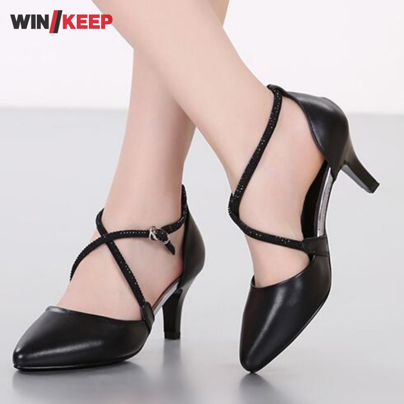 New Arrival Genuine Leather Ballroom Dance Shoes For Women Ladies  New Design  Soft Sole Latin Tango Dancing Shoes Heeled genuine leather latin dance shoes male adult square dance shoes tango ballroom ballroom men shoes sports male sneakers shoes