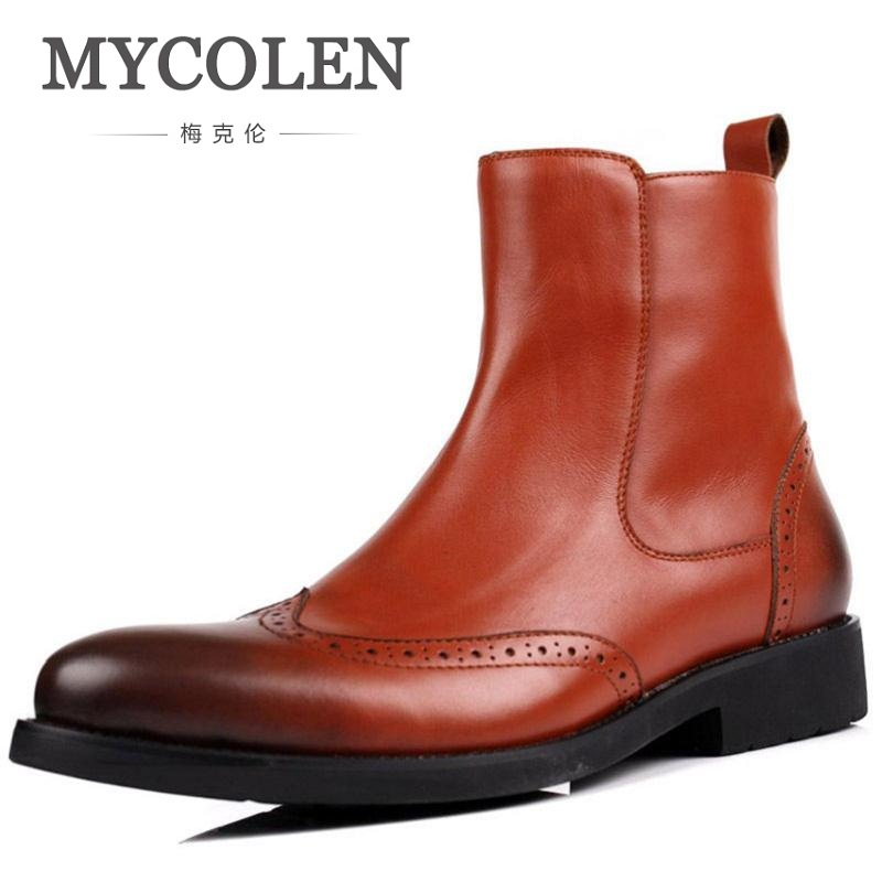 MYCOLEN Genuine Leather Winter Boots Shoes Men Brown Black Carving Fashion Martin Boots High Quality Comfortable Shoe Zapatos men shoes martin boots genuine leather male fashion casual shoe to help the high wear water resistant tooling boots