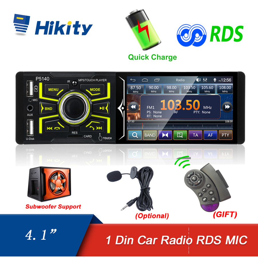 Hikity 1 din Car Radio Autoradio 4.1 Inch Touch Screen Car Stereo Multimedia MP5 Player Bluetooth RDS Dual USB Support Micphone image
