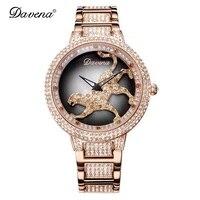 Женские роскошные часы с леопардовым принтом со стразами, женские модные стильные кварцевые часы, водонепроницаемые часы из розового золот