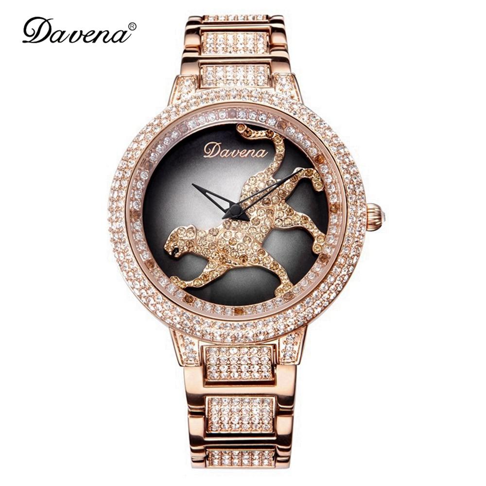 Montres léopard en acier de luxe pour femmes avec strass Bling, montres à Quartz à la mode pour femmes, horloge en argent Rose et or imperméable