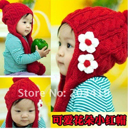 Gift children Knitting Wool hat red flower Beanie Cap Autumn and Winter Hat with earflaps CN post gift children knitting wool hat cute keep warm rabbit beanie cap autumn and winter hat with earflaps whcn