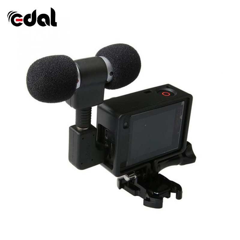 EDAL 3.5Mm No Noise Mic Stereo Microphone For Gopro Hero 4 3 Accessories Protective Frame Case Mount For Go Pro Action Camera