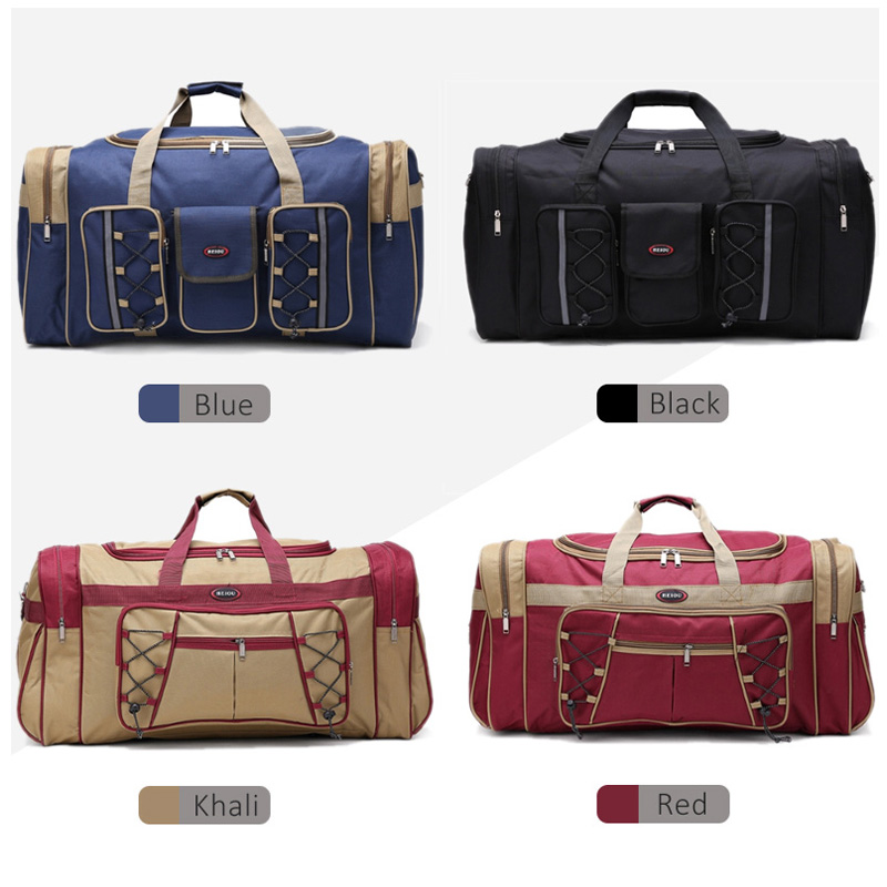 Image 5 - Thick Canvas Casual Duffle Bag Waterproof Mens Travel Bags Long Strap Anti scratch Multi pocket Large Capacity Handbags L468-in Travel Bags from Luggage & Bags
