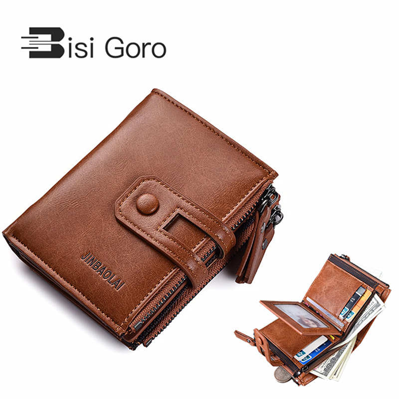 BISI GORO Luxury Men Wallets Brand Wallet Zipper PU Leather Mens with High Quality Coin Male Purse