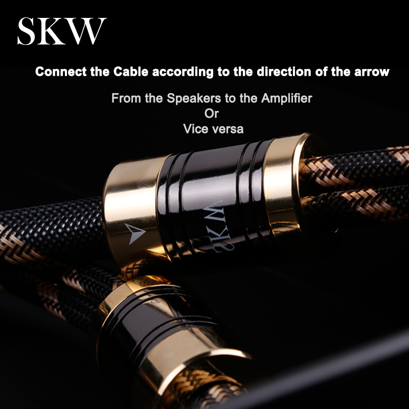 Image 5 - SKW HIFI Audio Cable 6N OCC With Spade+Banana Terminal Audiophile Speaker Cord 2.5M 3M For Amplifier Home Theater Multimedia