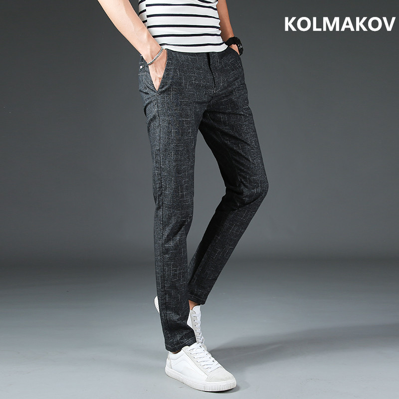 2018 New Mens Business Casual Pants trousers Autumn Straight Pant Men Slim Fit Big Size for Tall Men Good Quality Trouser Male