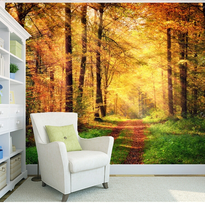 Custom natural landscape wallpaper.Sunlight on the forest for3D photo murals for living room bedroom background wall wallpaper rogue stainless steel rear bumper protector sill trunk guard cover trim for 2014 2016 nissan x trail x trail t32 car accessories