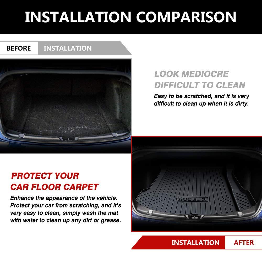 Tapis de coffre personnalisés pour Tesla modèle 3 Cargo Liner arrière Cargo plateau coffre tapis de sol en caoutchouc noir imperméable - 6