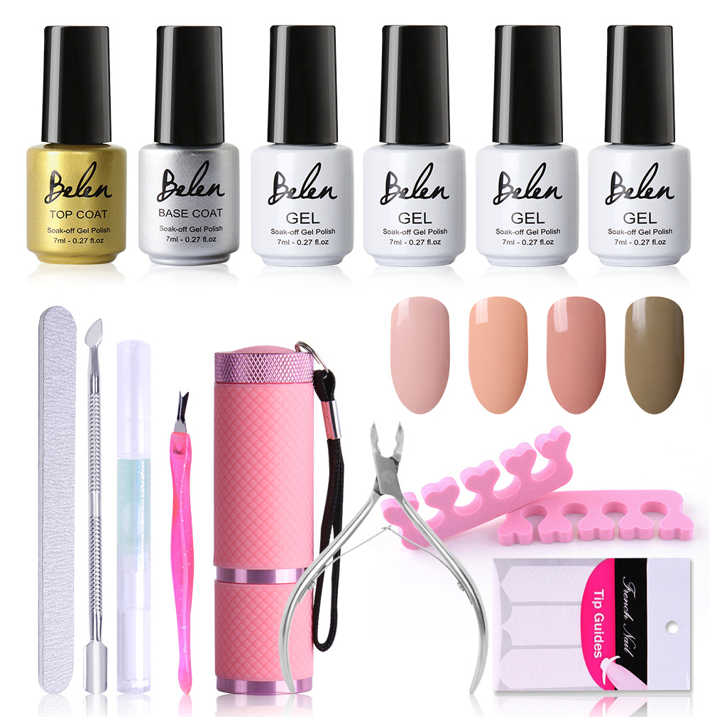 Belen 7ml Gel Polish Nude Color Series Set 9W UV Lamp Kits Varnish UV LED Nail Gel Polish Starter Tools Top Base Coat Sets 12pcs lot green series uv gel nail polish led lamp gel lacquer gel polish vernis semi permanent gel varnish nail primer base top