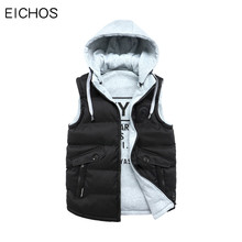 EICHOS 2017 New Brand Winter Men's Vest Hooded Vest Male Both Sides Wear Cotton-Padded Waistcoat Slim Jacket Coat 3XL DMY9268