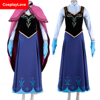Stock Cheap Movie Kid Adult Girl Cosplay Fatasia Festa Party Princess Anna Costume Women Anna Dress