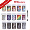 100Designs 100pcs New Nail Foil Transfer Sticker Paper Flowers Leopard Cartoon Pattern Polish Art Nail Supplies