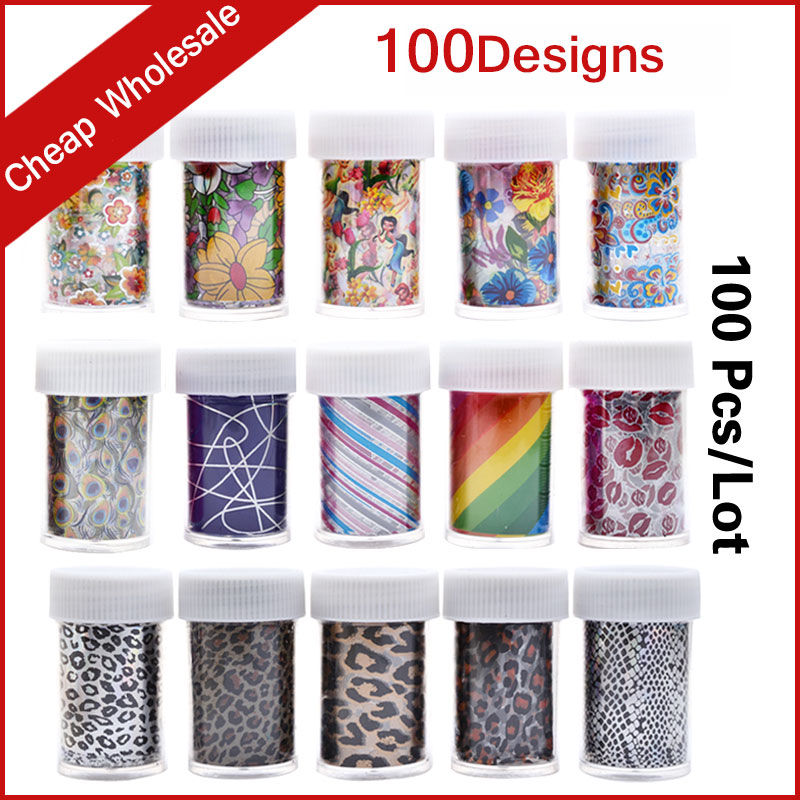 цена на 100pcs/set New Nail Foil Transfer Sticker Paper Flowers Leopard Cartoon Pattern Polish Art Nail Supplies