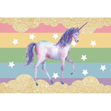 Laeacco Unicorn Stars Colorful Wall Baby Children Cartoon Scenic Photographic Backgrounds Photography Backdrops For Photo Studio