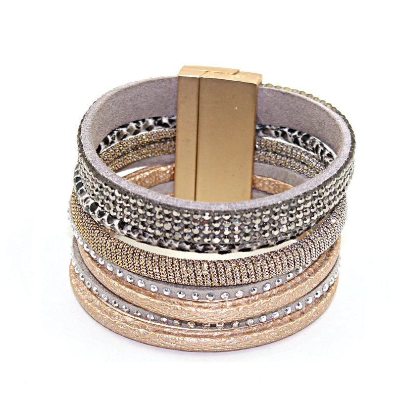 1 Pc/lot 2018 New Style Hot Selling Jewelry Bohemian 7 Layers Mixture Rhinestone Leather Bracelet&bangle Magnetic Clasp Good Companions For Children As Well As Adults