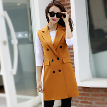 Fashion New 2016 Office Lady Elegant jackets Vests Sleeveless pocket yellow Outerwear Casual brand designer Coats