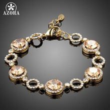AZORA Brand Round Champagne Gold Cubic Zirconia Bracelets for Women Gold Color Jewelry Fashion Party Love Gifts TS0163(China)