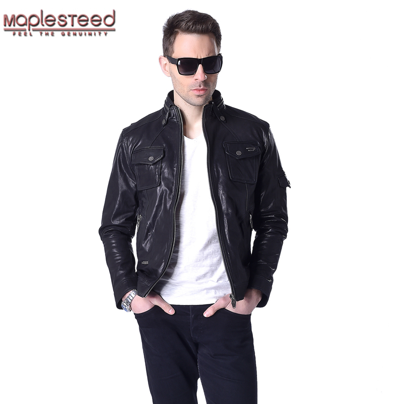 Factory Men Leather Jacket Real Genuine Sheep Goat Skin Brand Fashion Male Motorcycle Biker Man Coat Jaqueta Spring Autumn ZH032