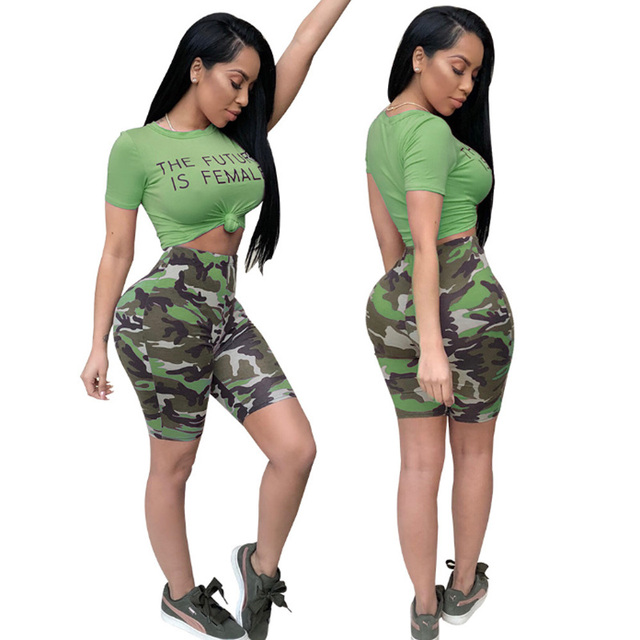 162d288e7f16 Women Two Piece Set Tracksuit O-neck T Shirt Top Tee+Camo Knee Length Pants  Ladies Short Sleeve Outfit Sexy Club Suits Sweatsuit