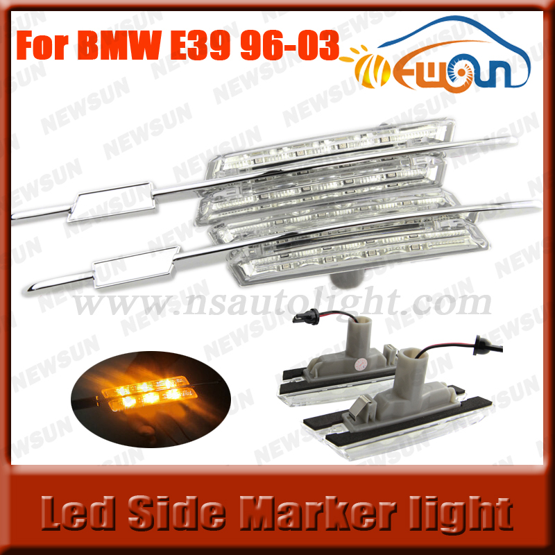 2016 Parking Auto side led fender light for BMW E39 (1996-2003) Amber 12V LED Side Marker Lamp E39 (crystal) without M logo free shipping 2x led turn signal side light auto parts led side marker car accessories with m logo for bmw e46 02 05 4d 5d