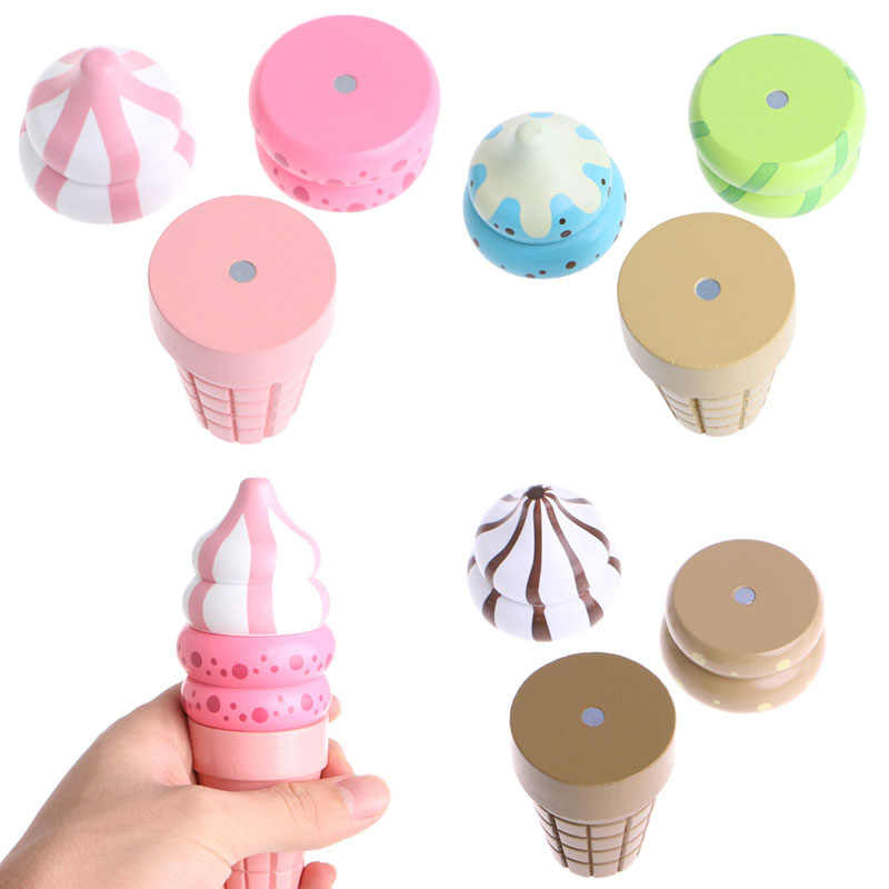 Wooden Food Magnetic Pretend Play Connected Ice Cream Children Kid Gift Toy Game Hot Chocolate/Vanilla/Strawberry