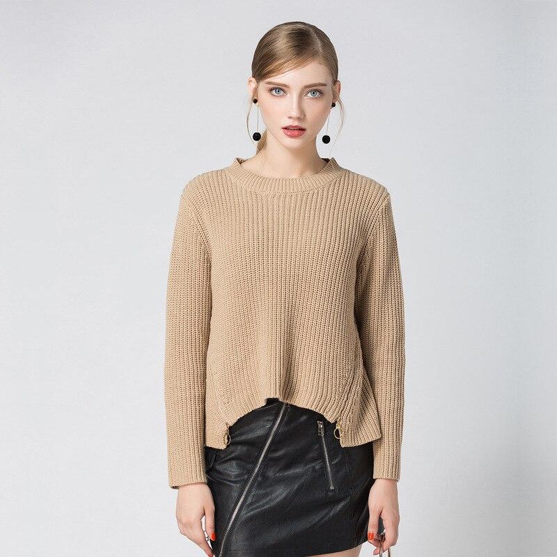 2019 nouvelles femmes mode coton chandail décontracté à manches longues col rond Lrregular robe tricotée automne vêtements élégants chandails de femmes
