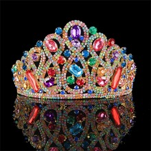 ФОТО vintage multi-color rhinestone bridal tiara fashion golden diadem for women wedding dress hair jewelry princess crown accessorie