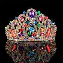 Vintage Multi-color Rhinestone Bridal Tiara Fashion Golden Diadem for Women Wedding dress Hair jewelry Princess Crown accessorie