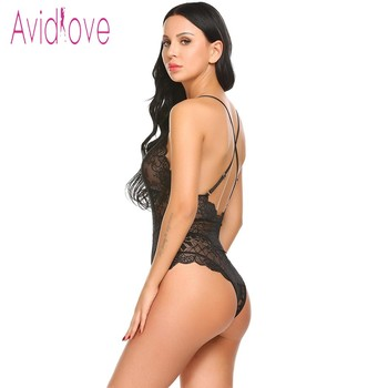 Avidlove New Lady Lingerie Sexy Hot Erotic Teddy Bodysuit Women Lace Spaghetti Strap Chemise Underwear Langeri Porn Sex Costumes 4