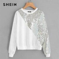 ecde676022 SHEIN White Plus Size Drop Shoulder Preppy Style Asymmetrical Sequin Panel  Women Sweatshirt Long Sleeve Autumn