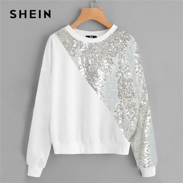 9aeeb0d59b9 SHEIN White Plus Size Drop Shoulder Preppy Style Asymmetrical Sequin Panel  Women Sweatshirt Long Sleeve Autumn Casual Pullovers