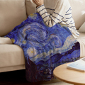 Двухъярусное одеяло Винсента Ван Гога  звездная ночь  теплое одеяло из микрофибры  одеяло для кровати  фланелевое одеяло
