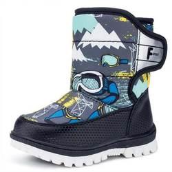 Детская натуральная кожа сапоги для мальчиков и девочек зимние ботинки модные детские плюшевые сапоги для малышей хлопок сапоги Размер 22-27