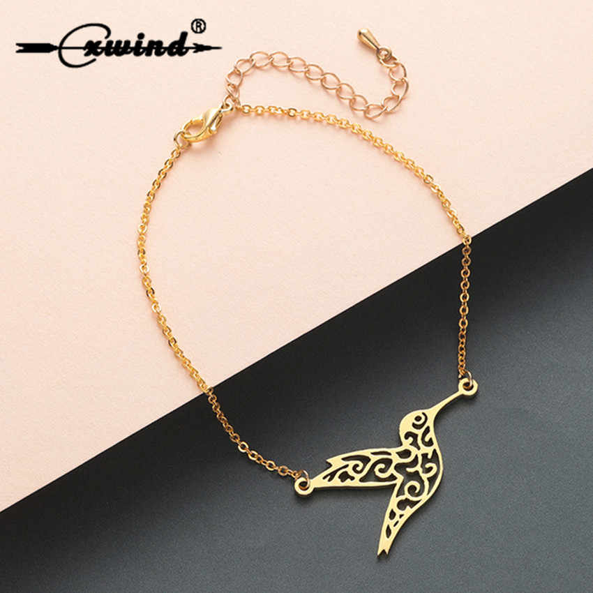 Cxwind Stainless Steel Carving Bird Bracelets & Bangles Women Hummingbird Bracelet  Jewelry Chain femme Bijoux Drop Shipping